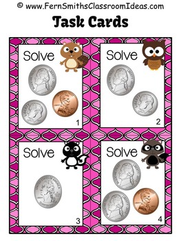 Money Task Cards for Coins to 25 Cents Recording Sheets Included