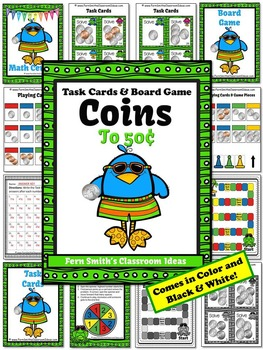 Money Task Cards and Board Game for Coins to 50 Cents Recording Sheets Included