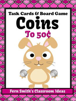Money Task Cards and Board Game for Coins to 50 Cents Reco