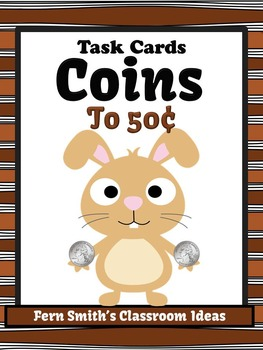 Money Task Cards for Coins to 50 Cents Recording Sheets Included