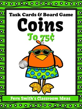 Money Task Cards and Board Game for Coins to 75 Cents Reco