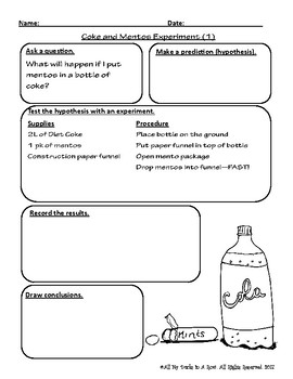 Coke and Mentos Experiment Fill in Lab Reports using Scientific ...
