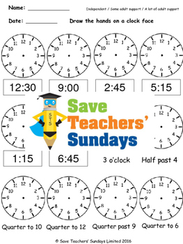 Clock hands worksheets (4 levels of difficulty)
