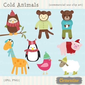 Cold Animals clip art,  winter animals