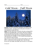 Cold Moon - December Full Moon information facts lesson questions word search