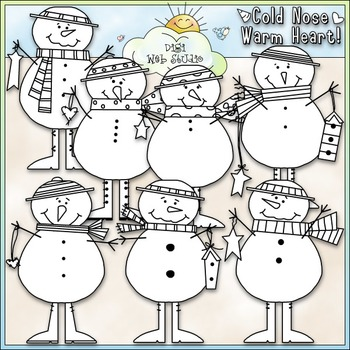 Cold Nose, Warm Heart Clip Art - Snowman Clip Art - Snowmen - CU Clip Art & B&W