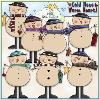 Cold Nose, Warm Heart Clip Art - Snowman Clip Art - Snowme