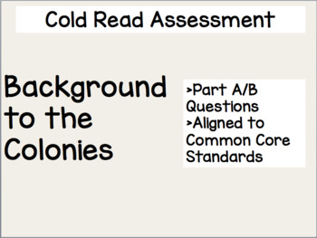 Background to the Colonies Cold Read