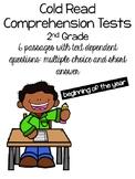Cold Read Comprehension Tests 2nd Grade