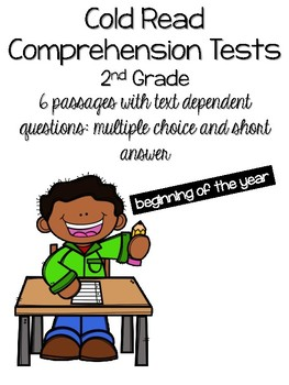 Cold Read Comprehension Tests 2nd Grade By Countless Smart Cookies