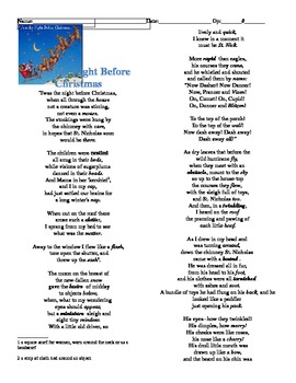 Cold Read- Twas the Night before Christmas Poem - Standardized ...