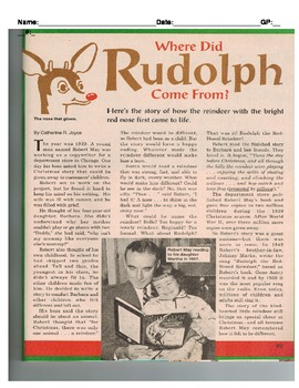 "Cold Read ""Where Did Rudolph Come From? Standadized Assessment"
