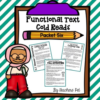 Cold Reads: Functional Text Packet 6
