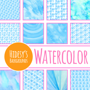 Cold Snow Watercolor Digital Paper / Patterns - Winter Clip Art Commercial Use