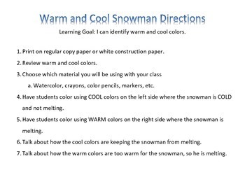 Cold Snowman Hot Snowman - Warm and Cool Colors