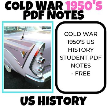 Cold War 1950's US History teaching student sheet PDF