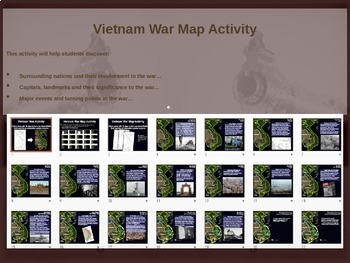 Cold War (60s-70s) VIETNAM WAR MAP ACTIVITY (20 slide PPT)