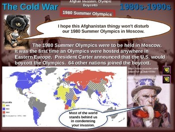 Cold War (80s-90s) ALL 5 engaging, highly visual PPTs (85 slides total)
