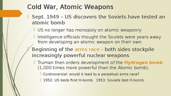 Cold War Arms Race - 1950's
