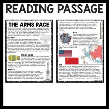 Cold War- Arms Race- Reading Comprehension Worksheet, Soviet Union, DBQ