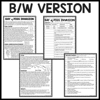 Cold War- Bay of Pigs Reading Comprehension Worksheet, Cuba, Soviet Union