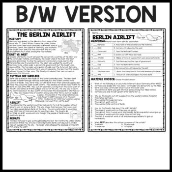 Cold War- Berlin Crisis Reading Comprehension Worksheet, Communism, WWII