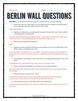 Cold War - Berlin Wall (Reading, Questions, Map and Teacher Key) Map Of Berlin After Cold War on map of europe cold war, nato cold war, berlin wall map cold war, map of berlin world war 2, map of warsaw pact cold war,