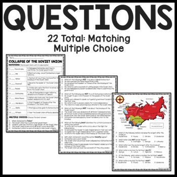 Cold War-  Collapse of the Soviet Union  Reading Comprehension Worksheet