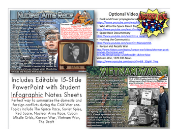 Cold War Conflicts PowerPoint and Student Infographic Notes