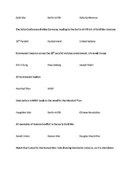Cold War Connections worksheet