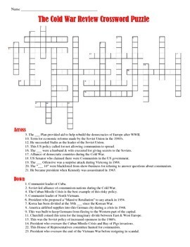 cold war crossword puzzle by students of history tpt. Black Bedroom Furniture Sets. Home Design Ideas