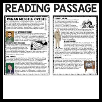 Cold War-  Cuban Missile Crisis Reading Comprehension Worksheet, Communism