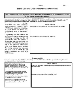 Cold War Era Document-Based Questions and Open-Ended Response
