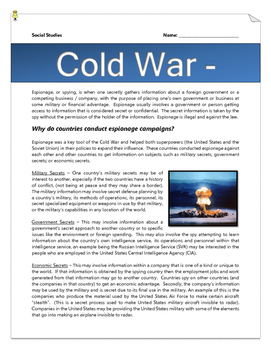 Cold War Espionage (Reading & Questions, Webquest, Article Assignment with Key)