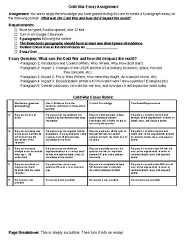 Cold War Essay Assignment, Rubric, and Outline
