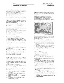 Cold War Exam- Multiple Choice