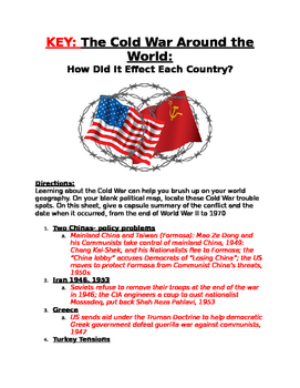 Cold War: How it affected different countries- history of countries &map act.