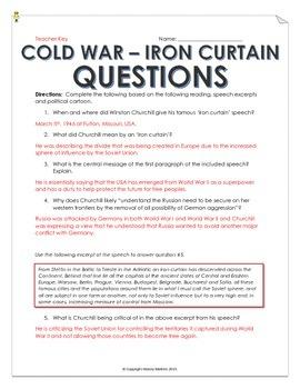 Cold War Iron Curtain Speech And Cartoon Analysis With Teacher Key