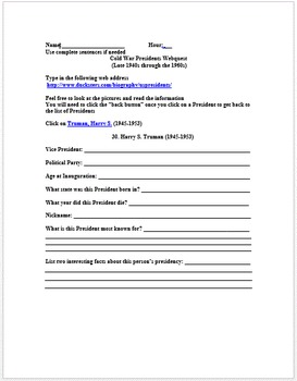 Cold War Lesson Plans and Webquests Collection