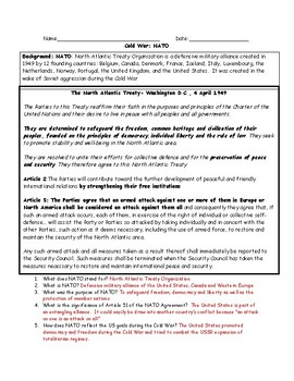 Cold War NATO Reading Worksheet (Adapted) with Answer Key