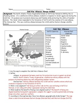 Cold War NATO and Warsaw Map Worksheet with Answer Key