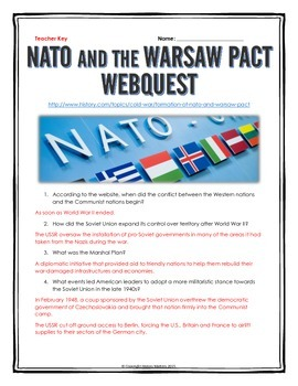 Cold War - NATO and the Warsaw Pact - Webquest with Key