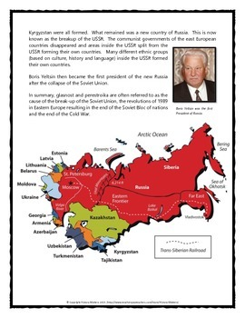 Cold War - Perestroika and Glasnost (Reading, Questions, and Teacher Key)