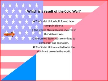 Cold War PowerPoint Review/Test Questions with animated answer pop up