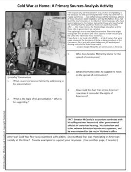 Cold War Primary Source Activity Bundled Set - Homework, Teamwork, Class Review