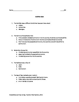 Cold War Quiz and Answer Key