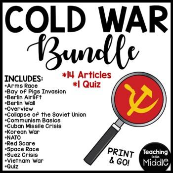 Cold War Reading Comprehension Worksheets Bundle 13 articles, 1 Quiz, Communism
