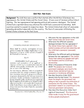 Cold War Red Scare Primary Source Worksheet with Answer Key