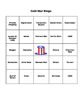 Cold War Review Bingo Cards