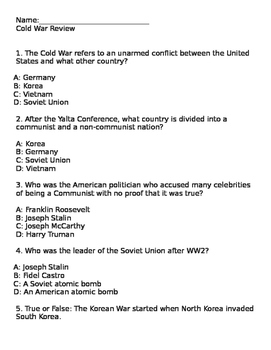 Cold War Review Practice test